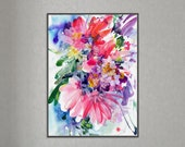 Awakening - Bright Pink Wall Art | Large Floral Art Print by CreativeIngrid | Boho Home Decor | Magenta Violet Flower Painting