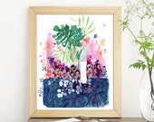 Art Print. Pregnancy Gift. Pregnant Woman Art. Gift Pregnant Wife. Baby Shower Gift Idea. Mom to Be. Pregnant Friend Gift. CreativeIngrid.