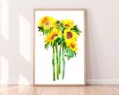 Sunflowers Art Print Large Watercolor Painting Yellow Sunflowers Summer Wall Art Sunflowers Gift Botanical Room Decor CreativeIngrid