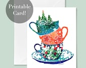 Christmas Stacking Cups | Christmas Card Digital Download, Printable Holiday Greeting Card Instant Download, Christmas Art by CreativeIngrid