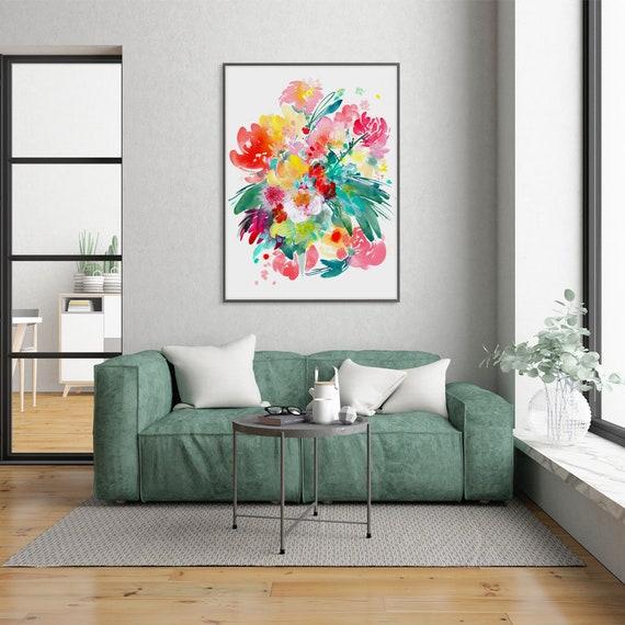 floral shabby chic living room   Flower Art Print Shabby Chic Wall Art Living Room Decor ...
