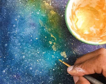 Space Art Print Celestial Watercolor Painting Galaxy Watercolor Gold Universe Space Print CreativeIngrid