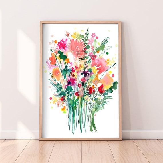 Floral Bouquet Wall Art for Living Room Modern Flower Watercolor Print Peonies Painting Art CreativeIngrid Wild Bouquet Flower Art Print