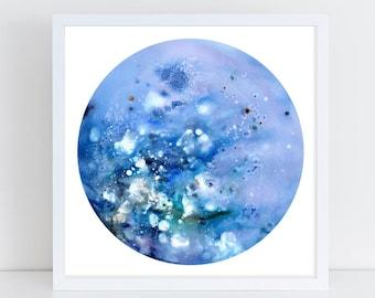 Full Moon Print. Blue Moon. Supermoon Watercolor. Lunar Wall Art. Bedroom Decor. Celestial Watercolor. Galaxy Art. Wolf Moon. CreativeIngrid