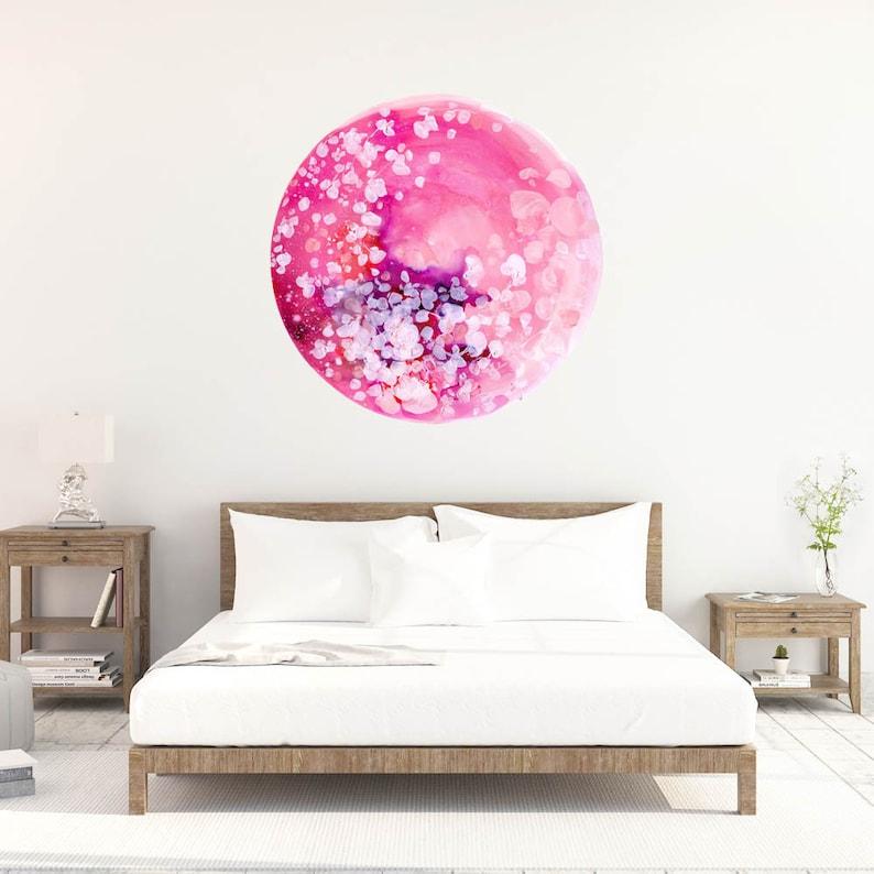 Wall Decal Bedroom Decor Boho Decor Nursery Wall Art Watercolor Flowers Wall Sticker Vinyl Decal Pink Home Decor Pink Moon Decal Moon Art