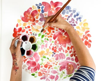 Floral Watercolor Wall Art. Floral Wall Decor for Her. Botanical Artwork Print. Floral Art Print. Boho Flowers Wall Art. Flower Art Prints.