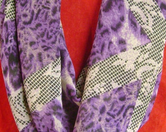 Silky Knit Infinity Scarf with Purples and Black and Lace Look  Circle Scarf  Loop Scarf