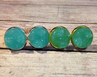 The Druzy Earrings in Robins Egg Blue | Aquamarine Druzy Earrings | Aqua Earrings | Aqua Druzy Jewelry | Druzy Jewelry | Robins Egg Blue
