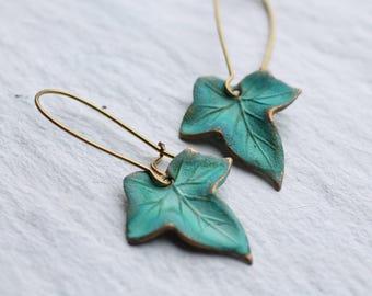 Green Leaf Earrings, Ivy Leaf Earrings, Boho Earrings, Long Turquoise Earrings, Lily Pad, Boho Jewelry