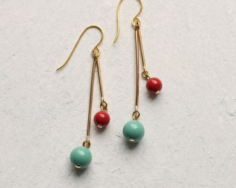 Cherry Red and Turquoise Earrings, Geometric Ball Earrings, Duck Egg Blue Earrings, Gifts for Women