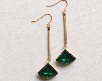 Emerald Green Art Deco Earrings ... May Birthstone Earrings