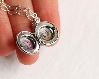 Personalised Photo Gift Personal Jewelry Miniature Locket Silver Tiny Locket Birthday Gift for Friend Girlfriend TINY ROUND SILVER