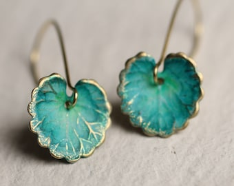 Green Leaf Earrings ... Boho Turquoise Lily Pad Long Earrings, LEAF EARRINGS