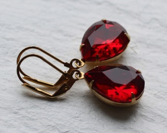 Ruby Earrings, Red Earrings, Garnet Earrings, Jewel Earrings. July Birthstone, January Birthstone, July Birthday Gift