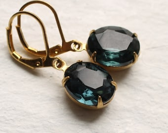Navy Blue Vintage Earrings ... Sapphire September Birthstone Earrings