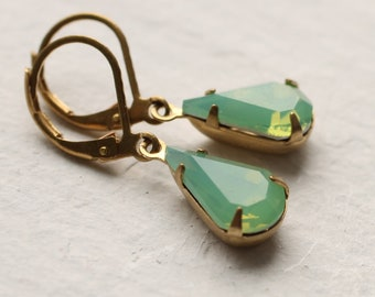 Green Opal Earrings, Art Deco Earrings, Geometric Jewelry, Gift for her, October Birthstone, Vintage Art Deco Earrings