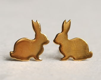 Rabbit Earrings, Rabbit Stud Earrings, Rabbit Post Earrings, Bunny Jewelry, Hare Earrings, Gift for Women