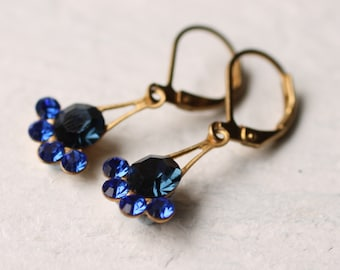 Sapphire Blue Earrings, Iceberg Earrings, Vintage Drop Earrings, Opal Earrings, September Birthstone, Birthday Gift for September