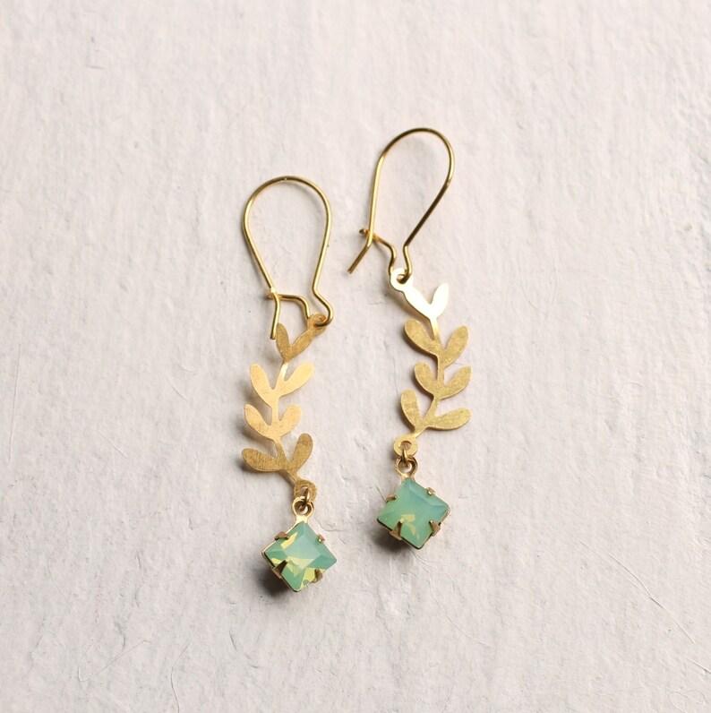 79ef93100 Green Opal Earrings Leaf Earrings Peridot Earrings October | Etsy