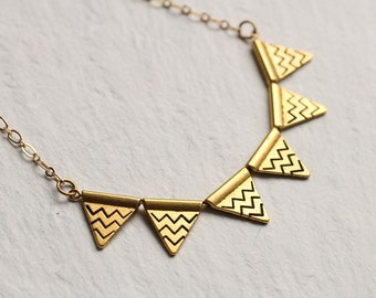 Bunting Necklace, Triangle Necklace, Gold Geometric Necklace, Vintage Art Deco Gold Geometric Pendant, Gift for Women, Festival jewelry