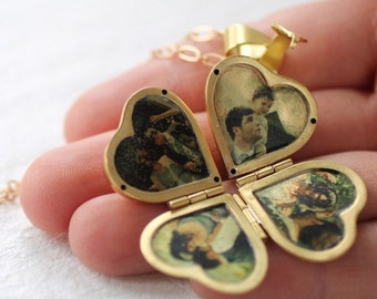 Folding Vintage Locket ... Family Locket, Photo Album Pendant, Clover Necklace, Gifts for Family, Gift for Mothers