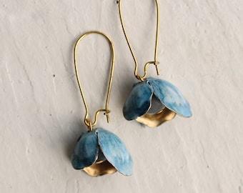 Bluebell Earrings ... Vintage Brass Blue Cornflower Gold Flower Bud, BLUEBELL EARRINGS