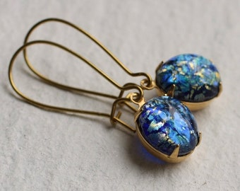 Peacock Blue Opal Earrings, Opal Jewelry, Gift for Women, October Birthstone, October Birthdate, Bridesmaid Gift, SAPPHIRE PEACOCK KIDNEY