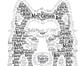 249ea70ed Digital TEACHER appreciation inspired word cloud art wordle - WOLF Face  makes a great gift - add names of kids, school year customize colors