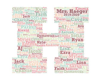 Digital word cloud teacher appreciation Block Monogram Letter H makes a great gift add names of kids  school year customize colors