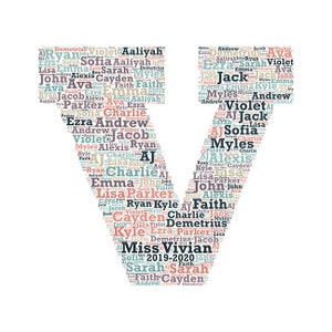 Digital word cloud Block Monogram Letter E add names of kids  school year customize colors teacher appreciation makes a great gift