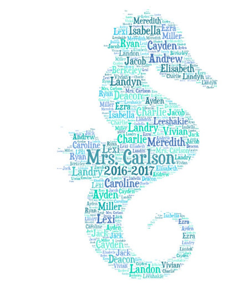 makes great teacher appreciation gift  add names of kids  customize colors Digital SEAHORSE word cloud art wordle