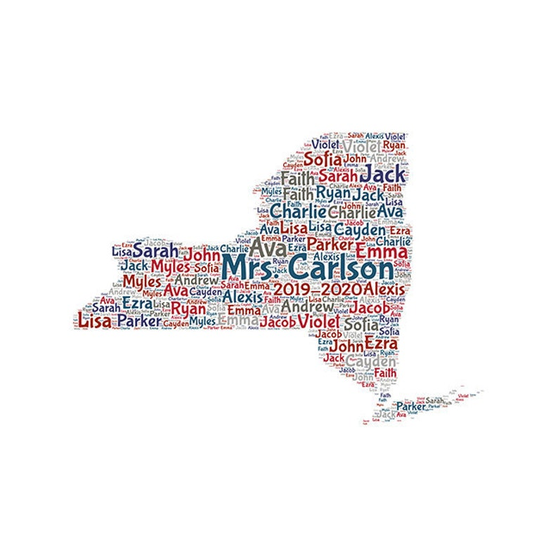 teacher appreciation New York US STATE Digital word cloud art print makes great gift add names of kids  customize colors