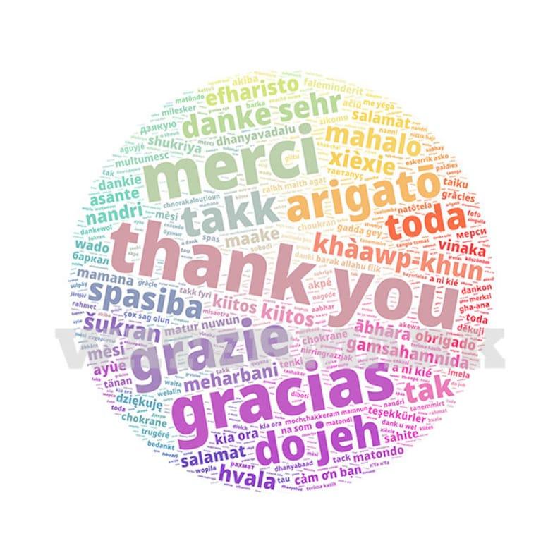 Word Cloud Wordle svg pdf png jpg INTERNATIONAL Global Ways to Say Thank You Circle INSTANT Digital Download