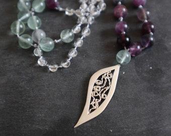Fluorite Mala Necklace, Silver Leaf Necklace, Mala Necklace, Handmade Mala Necklace, Long Precious Stone Necklace