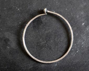 Silver Unisex Cuff Bracelet, Oxidized Silver Bracelet, Hammered Silver Bracelet, Unique Silver Bangle