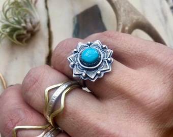 Mandala Turquoise Sterling Silver Ring, artisan made and one of a kind.