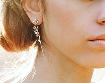 Long Stem Rose 2.5-inch Dangle Stud Earrings, handmade in NY, sterling silver/14K gold plated floral stud earrings - 50% off spring sale