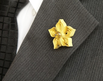 Yellow flower pin etsy yellow lapel pin yellow boutonniere for men yellow flower pins for suits yellow wedding flower buttonholes spring trends tie tack mightylinksfo