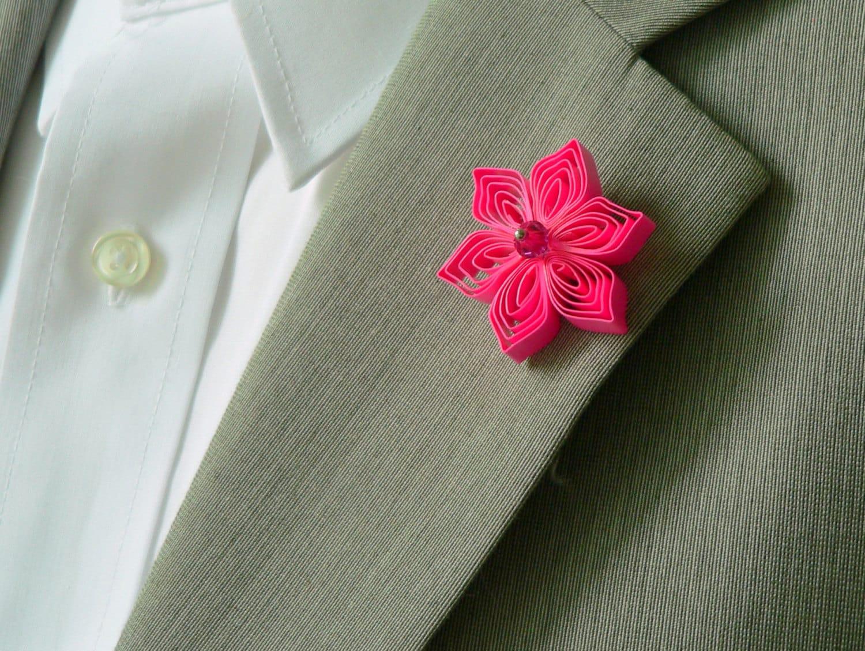 Hot Pink Lapel Pin Neon Pink Wedding Accessories For Men