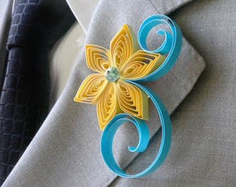 Sunbeam and Ocean Boutonniere, Yellow and Aqua Wedding, Sunbeam Boutonniere, Sunbeam Wedding, Ocean Wedding, Aqua Boutonniere