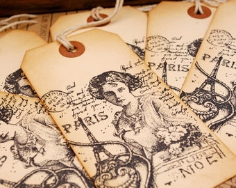 Lady in Paris Vintage Style Large Hand Stamped Tags Set of 6