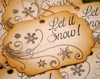 Let It Snow Vintage Inspired Holiday Gift Tags Set of 6