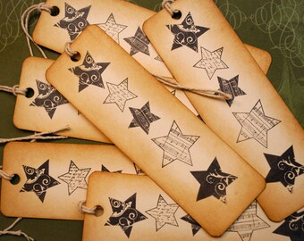 Holiday Stars Vintage Inspired Gift Giving Tags Set of 6