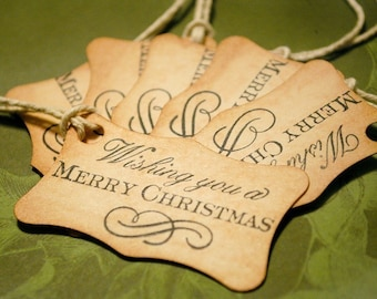 Cute Vintage Style Christmas Tags Wishing you a Merry Christmas Set of 6
