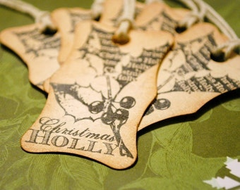 Vintage Style Christmas Tags Distressed Holly Set of 6