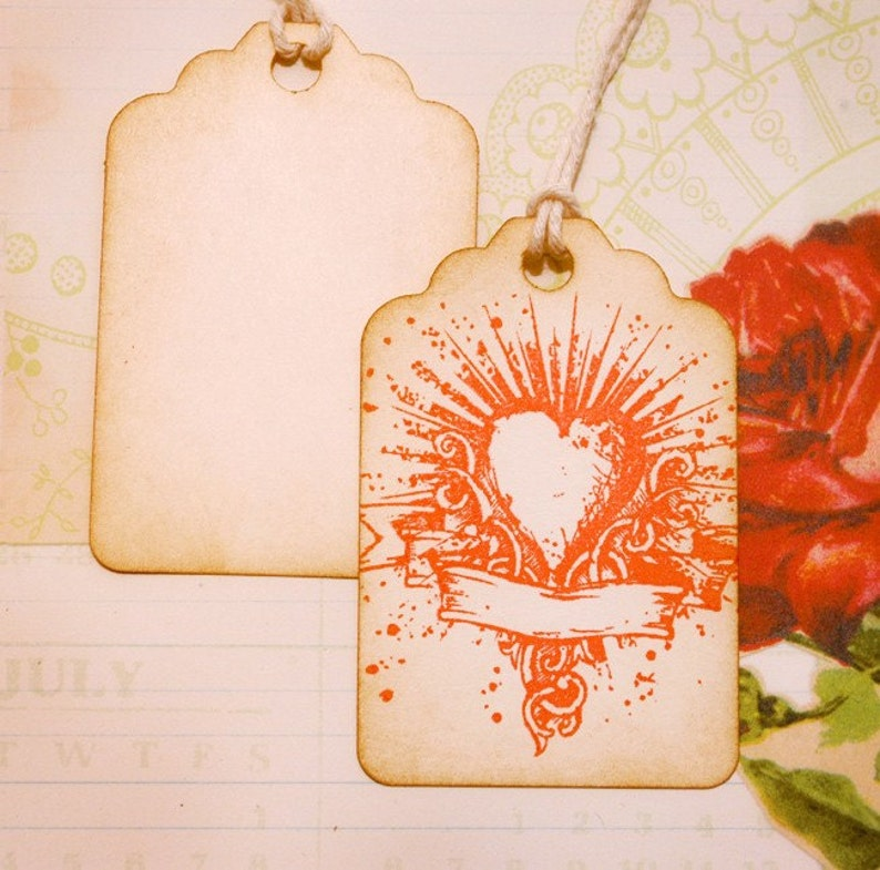 Tattoo Heart Burst with Banner Vintage Tags Set of 6
