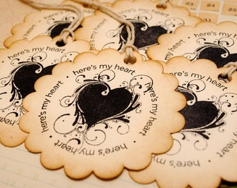 Round Vintage Tags Here's  My Heart Set of 6