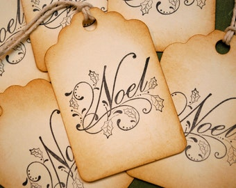 Noel Holly Leaves Vintage Style Christmas Holiday Tags Set of 6