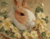Vintage Stunning 18 quot PREWORKED Needlepoint Canvas Farmhouse -Brown Rabbit Bunny Yellow Floral Wreath Garland