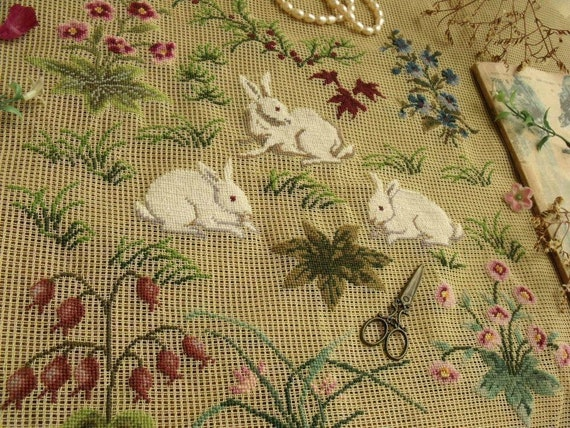 Needle Arts Crafts Preworked Needlepoint Canvas White Bunny Rabbit In Flowers Crafts Chaireeconomie Hec Ca